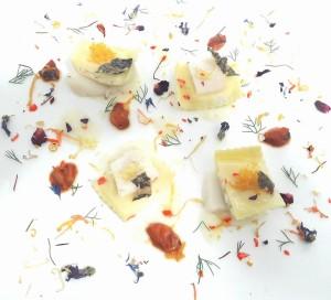Quadrotti a limone con baccalà e arancia