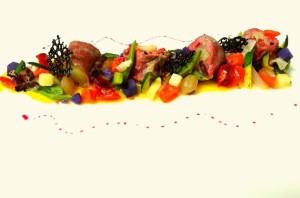 Rollé di Fassone con caponatina di verdure